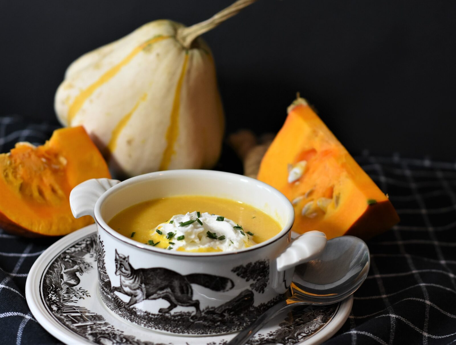 bowl of pumpkin soup after substituting healthier ingredients maintaining tasty flavor